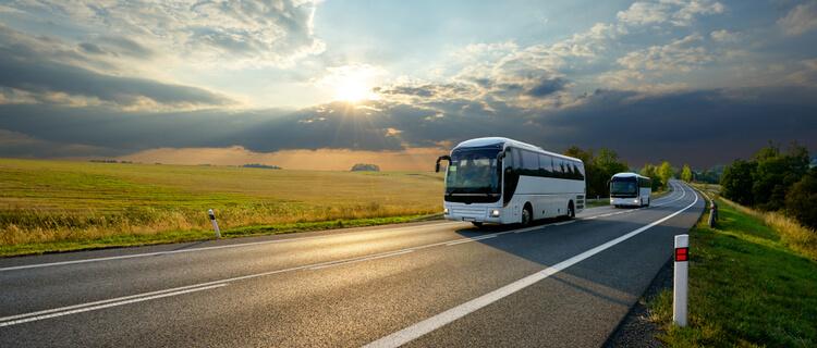 ハイウェイを走る観光バス