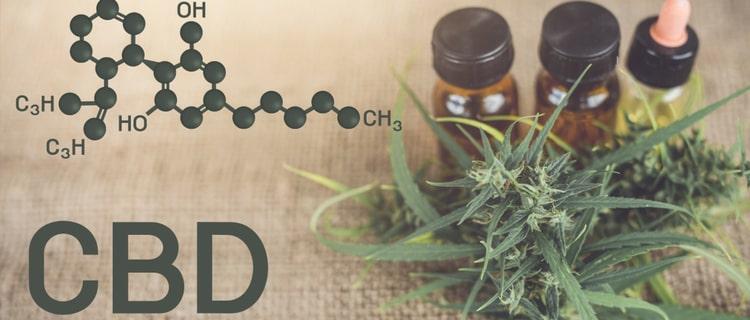 CBDと大麻とオイルの瓶