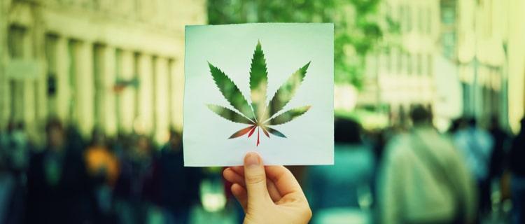 街中で大麻の葉を抜いた紙を持つ
