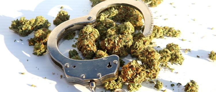 手錠と大麻のバッズ