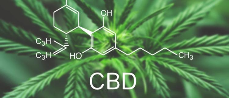 CBDの構造式と大麻の葉